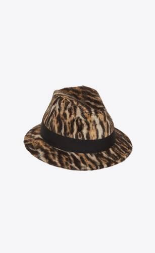 fedora hat in ocelot-print brushed wool and alpaca felt