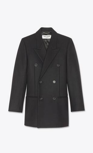 double-breasted tailored coat in wool felt