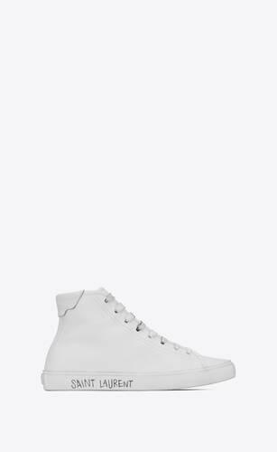 sneakers de media caña malibú de piel lisa