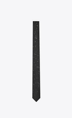 cravate fine en jacquard de soie lamée à sequins brodés