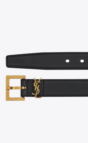 monogram belt with square buckle in smooth leather