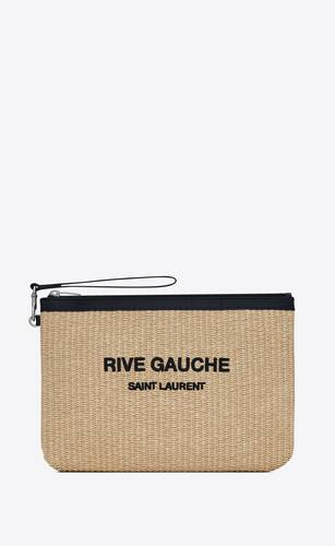 rive gauche zippered pouch in embroidered raffia and leather