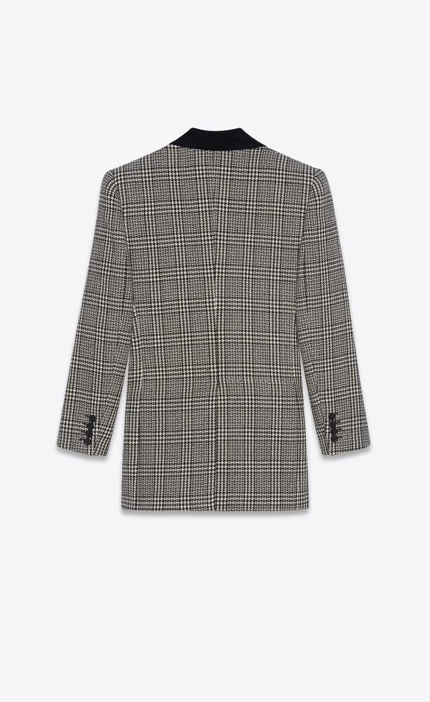 double-breasted jacket in prince of wales wool tweed