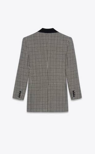 veste à double boutonnage en tweed de laine prince de galles