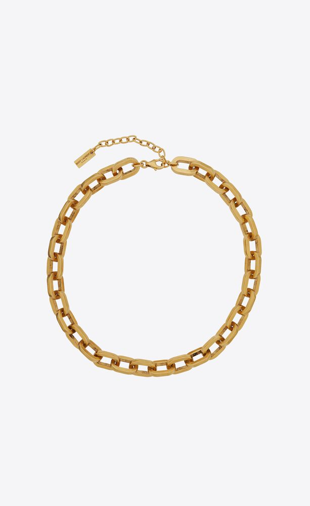 squared cable chain choker in metal