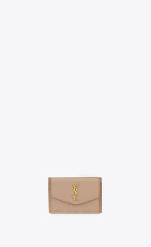 uptown card case in grain de poudre embossed leather