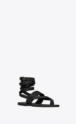 culver flat sandals in smooth leather with studs
