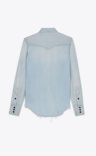 destroyed classic western shirt in dirty sky blue denim