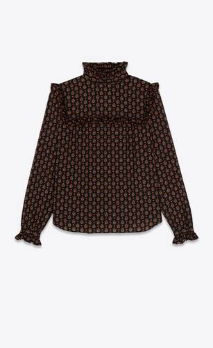 prairie blouse in printed wool etamine