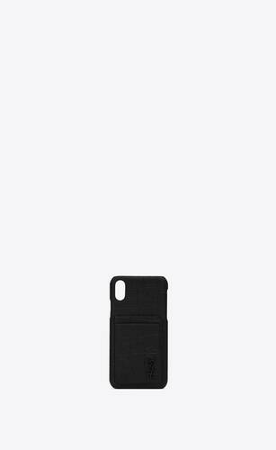 iphone x monogram case in crocodile embossed leather