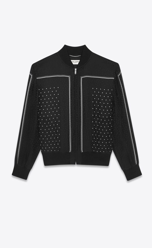 teddy jacket in monogram dotted-print silk