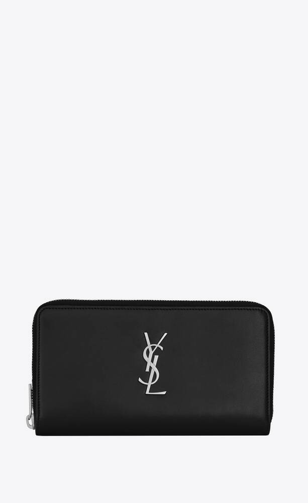 monogram zip wallet in smooth leather
