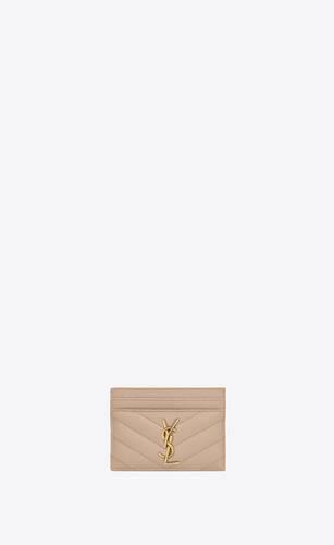 monogram kartenetui aus leder mit grain-de-poudre-prägung