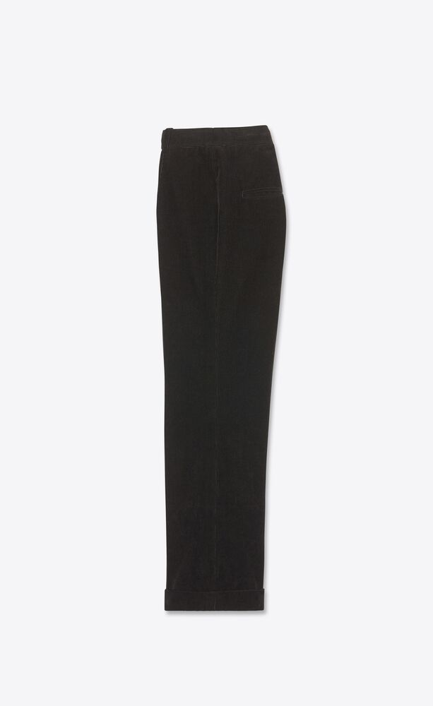 pantalon évasé taille basse à plis en velours côtelé