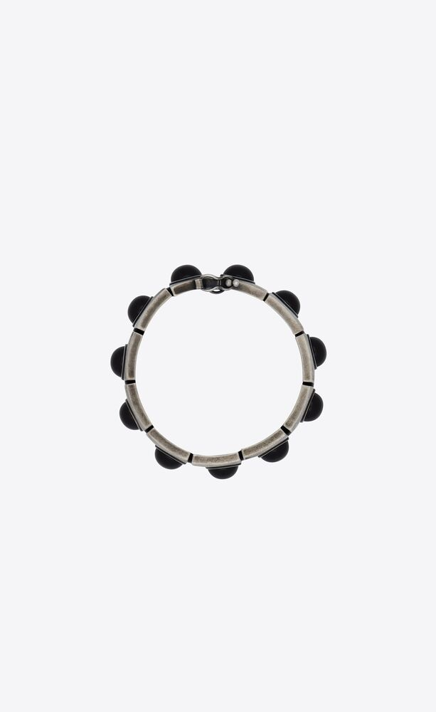 obsidian cabochon articulated bracelet in metal