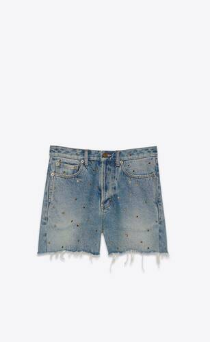short à bords bruts et œillets en denim arizona light blue