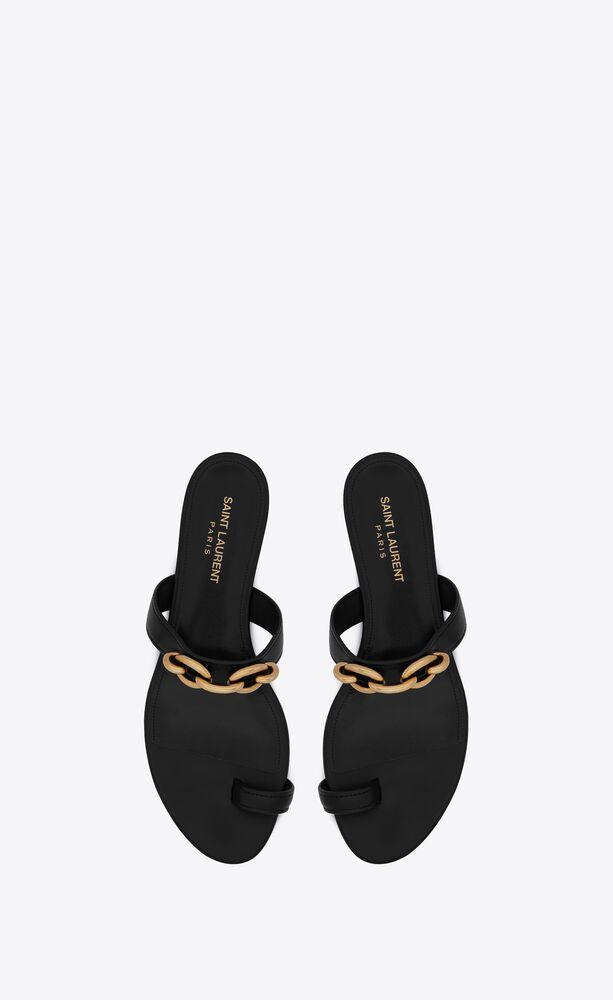 sandali flat le maillon in pelle liscia