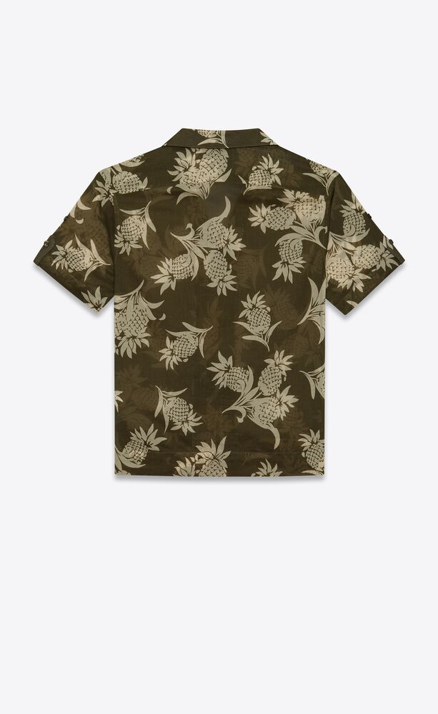 shark-collar short-sleeve shirt in pineapple cotton voile