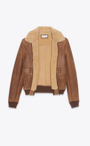 flight jacket in sheepskin with shearling