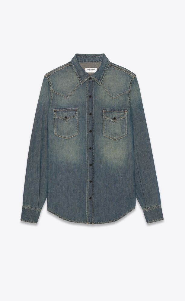 western shirt in deep vintage blue denim