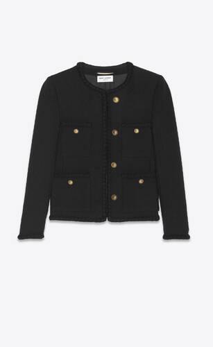 veste courte en tweed embossé losanges