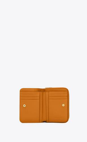 portefeuille compact zippé en cuir mat