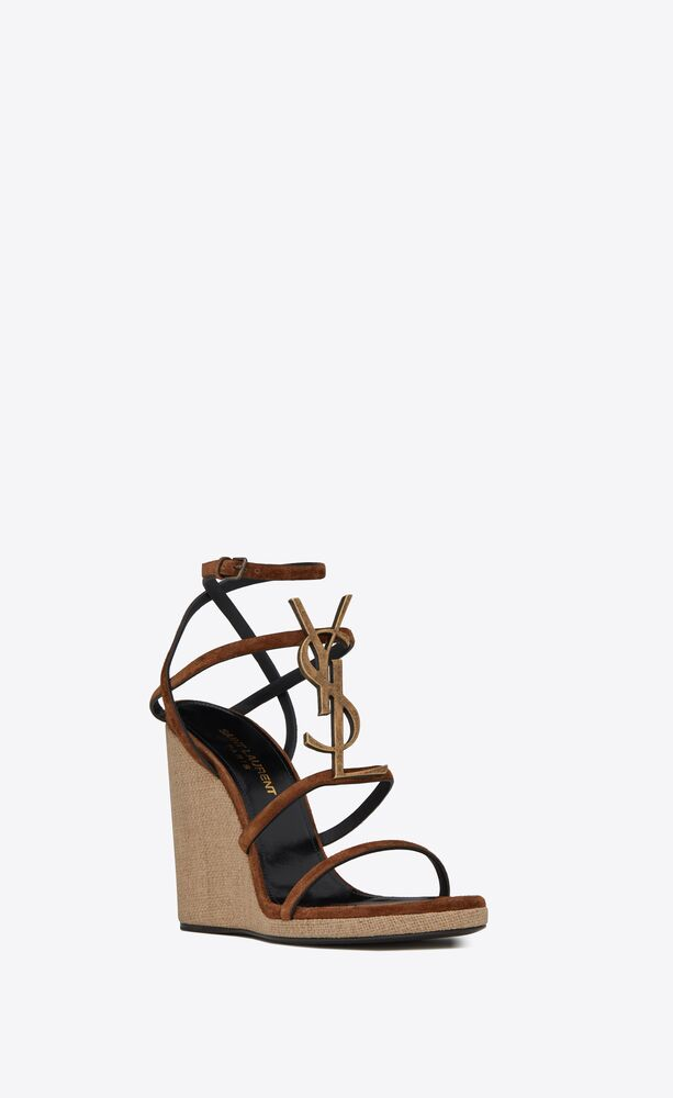 cassandra wedge espadrilles in suede with officer-gold tone monogram