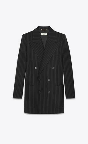 double-breasted jacket in rive gauche stripes wool flannel