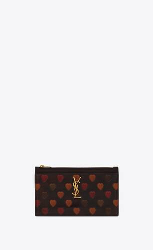 monogram bill pouch in heart-embossed leather
