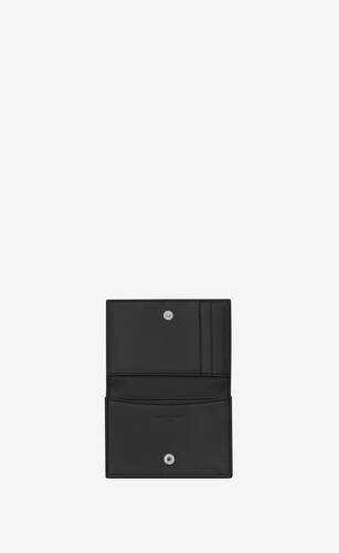 business card holder with flap in smooth leather