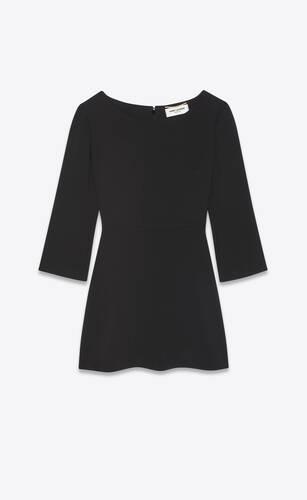 flared dress in sablé saint laurent