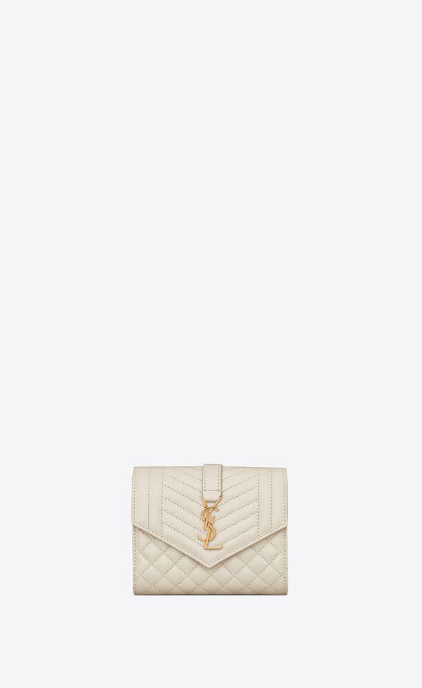monogram compact tri fold in mix matelassé grain de poudre embossed leather