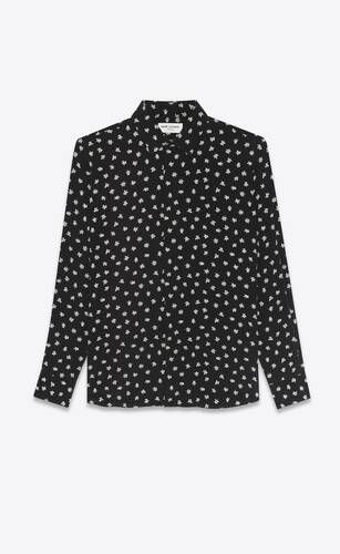 orchid-printed shirt in silk crepe de chine