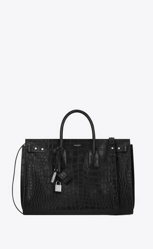 sac de jour large in crocodile embossed leather