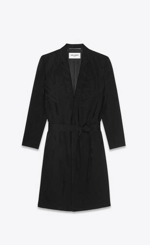 belted robe jacket in jungle wool jacquard