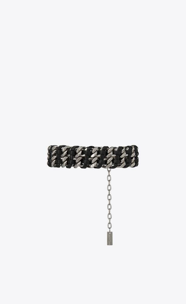 woven curb chain bracelet in leather and metal