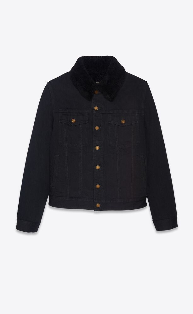jacke mit shearling aus schwarzem denim im used-look