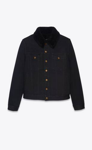 jacket with shearling in worn black denim