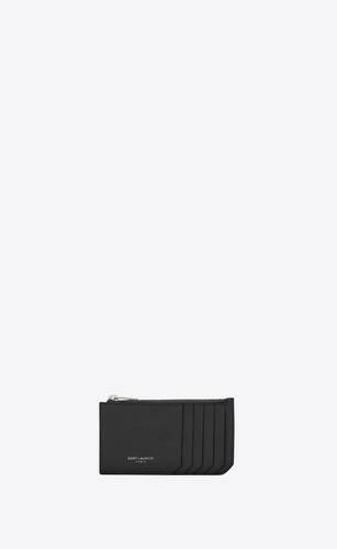 블랙 그레인드 가죽 소재의 클래식 생 로랑 파리 5 프라그망 지퍼 파우치