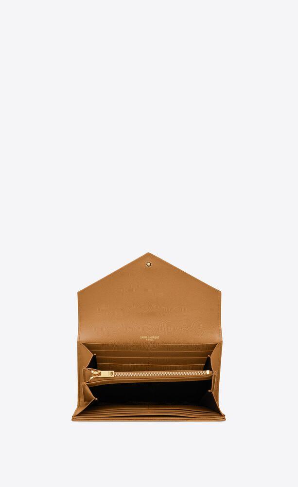 monogram large flap wallet in grain de poudre embossed leather