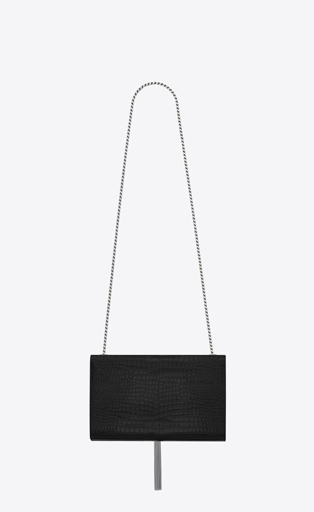 kate medium with tassel in embossed crocodile shiny leather