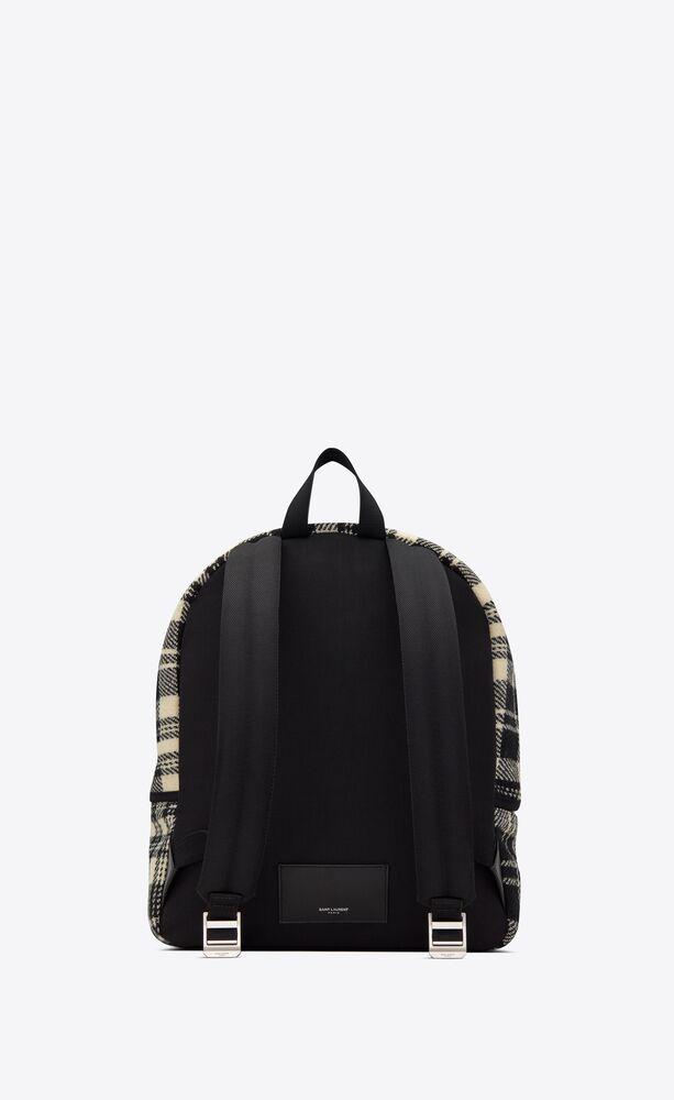camp backpack in tartan and lambskin