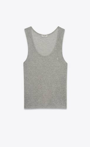 striped monogram tank top in linen cotton jersey