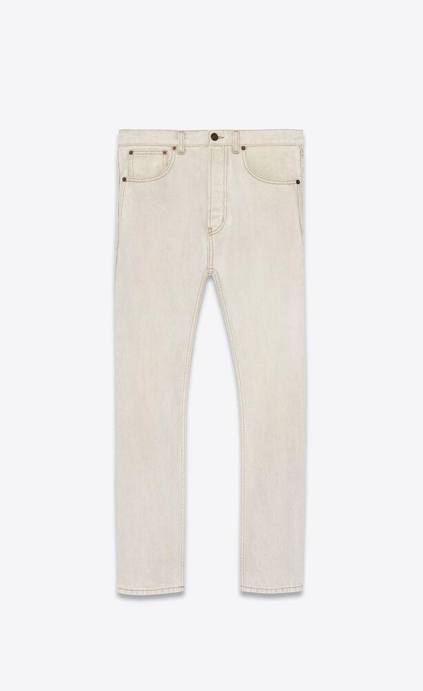 straight-cut jeans in gray super bleach white denim