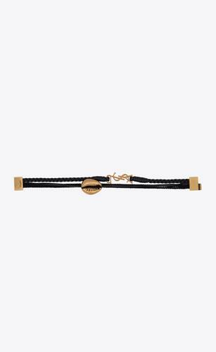 braided leather and passementerie seashell monogram bracelet