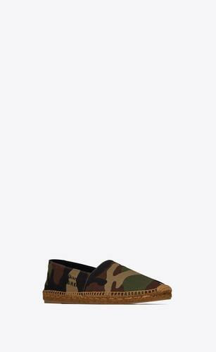 saint laurent embroidered espadrilles in camouflage-print canvas