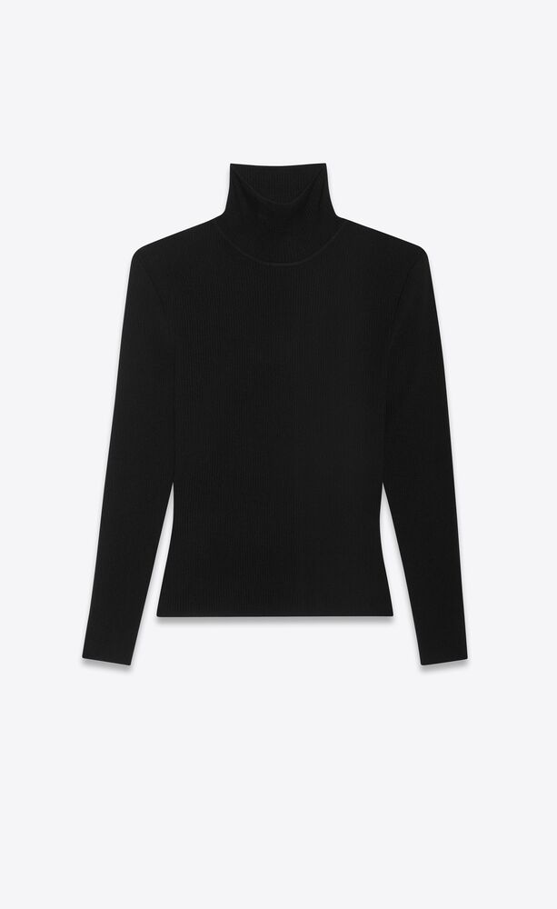 ribbed sweater in stretch wool