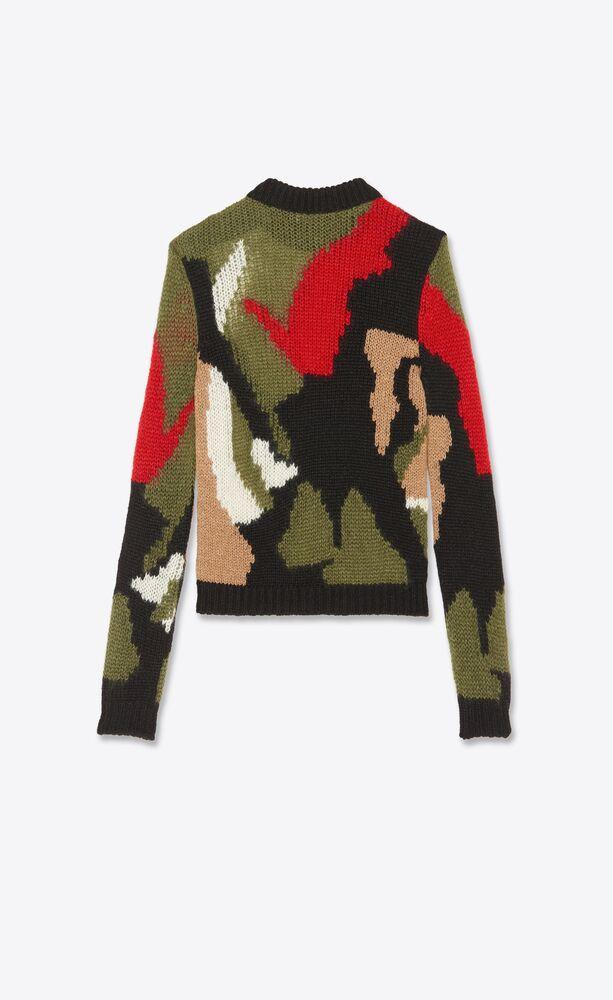 울과 모헤어 인타르시아 소재의 카모 프린트 스웨터