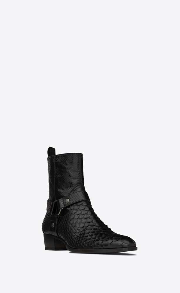 wyatt harness boots in lacquered python