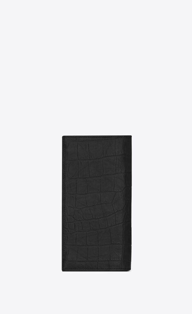 monogram continental wallet in crocodile embossed leather